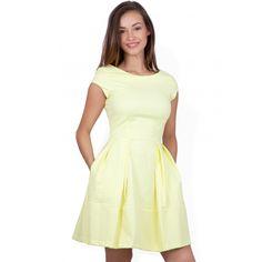 Closet Yellow Jacquard V-Back Dress
