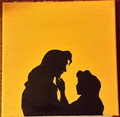 LOVE THIS!! Disney Silhouette Painting - Beauty and the Beast