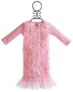 Mud Pie Pink Chiffon Baby Gown