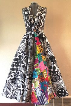 Reversible African Wax Print Coat Dress Double Patchwork Black and White and Brilliant Color - Make a Scene Reversible African Wax Print Coat Dress Double African Print Dresses, African Fashion Dresses, African Attire, African Wear, African Women, African Dress, Fashion Outfits, Ankara Fashion, Mens Fashion