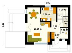 Rzut MT Jagoda  CE My House Plans, Floor Plans, Flooring, How To Plan, Interior Design, Rooms, Houses, Projects, Nest Design