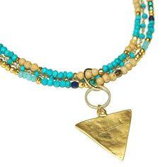 Gemstone boho necklace geometric pendant gold by AshbeeJewelry