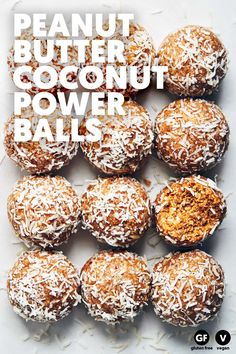 Peanut Butter Coconut Power Balls — Evergreen Kitchen A power snack that tastes like heaven! Say hello to healthy fats, protein and a whole lot of flavor. And best of all, they're just 15 minutes away. (V+GF) Peanut Butter Power Balls, Coconut Peanut Butter, Peanut Butter Protein, Peanut Butter Recipes, Chocolate Peanut Butter, Fudge Recipes, Peanut Butter Healthy Snacks, Chocolate Tarts, Coconut Cookies