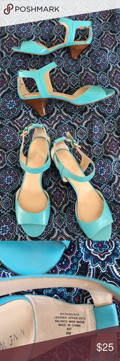 Nine West kitten heel in Aqua leather size 9 Adorable wooden kitten heel sandals are new withe leather uppers and side buckle. One tiny glue mark on right shoe by stitching not noticeable on Nine West Shoes Sandals