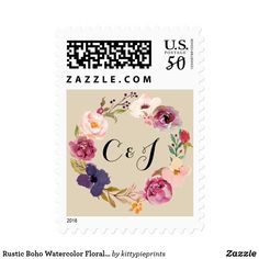 """Rustic Boho Watercolor Floral Wreath Wedding Postage A floral watercolor wreath monogram stamp to match our simple & elegant wedding invitation suite featuring beautiful watercolor flowers & foliage. Modern calligraphy and typography add a stylish trendy touch to this classic design by Kitty Pie Prints. Background color is changeable! Just hit the """"customize"""" button to choose your preferred background color."""