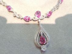 5.50 ct Natural Diamond Tourmaline 14k Gold Anniversary Necklace