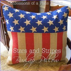 Pottery Barn Inspired Stars and Stripes Burlap Pillow - CONFESSIONS OF A PLATE ADDICT