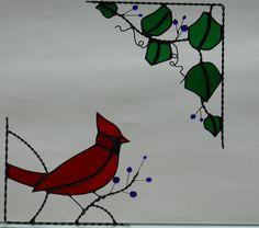cardinal / stained glss corner design / bottom left by GLASSCORNER