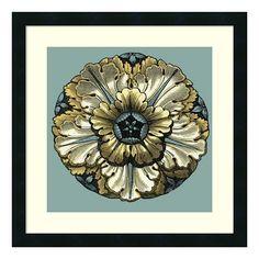 ''Floral Medallion V'' Framed Wall Art, Black
