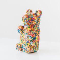Cute kid's bedroom decor. Sculpture shaped like a gummi bear with sprinkles. Handmade piece of art by sazerac stitches. We Bear, Baby Girl Nursery Decor, Cute Bears, Gummy Bears, Colorful Interiors, Lovers Art, Cute Kids, Kid Stuff, Sprinkles