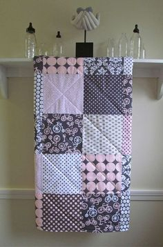 Modern Baby Quilt -  Bicycles - Girl Crib Quilt in Pink, Gray, and White - Girl Quilt