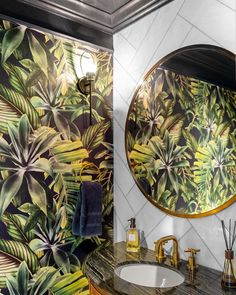 A Tropical Forest removable wallpaper is a nice way to upgrade your bathroom. Decorate your bathroom with a wallpaper -it's easy to put up, humid proof and beautiful! High quality tropical print #wallpaper #walldecor #decorideas #decorating #wallmural #murals #peelandstick #removable #decorating #modernbathroom #bathroomdecor #tropicaldecor #DIydecor #tropicalprint #darkdecor #darkprint #darkwallpaper