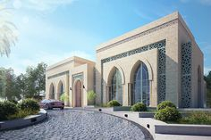 hotel elevation El-Kindi Mansion on Behance Mosque Architecture, Neoclassical Architecture, Sacred Architecture, Modern Architecture House, Beautiful Architecture, Architecture Design, Modern Buildings, Modern Villa Design, Classic House Design