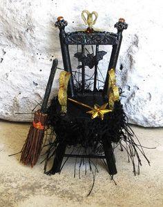 Halloween Miniature Witch Magic Throne Gothic by fantasycrafts