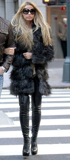 fashion style  thigh high boots and fur for this winter, black and black/