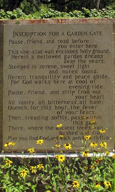 Brookgreen Gardens-Anna Hyatt Huntington selected this poem to be used at the gate of Brookgreen Gardens in 1959. It was written in homage to its avenue of live Oak Trees.