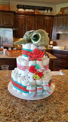 """Diaper cake"" Mermaid / Ocean themed baby shower"