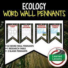 Ecology Word Wall 53 Pennants (Life Science Word Wall)VISIT MY STORE AND FOLLOW TO GET UPDATES WHEN NEW RESOURCES ARE ADDED This is a WORD WALL set that has 53 words included.  Buy now and save $$$.   Includes 2 to a page banner pennant word wall.  Print two or four to a page, cut, and decorate your room!  2 blanksfor each unit have been included so you can decorate and label your board with the same background theme.  53 Words with 10 different blank backgrounds for you to decorate your…