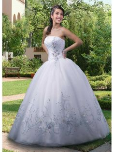 Ball Gown Strapless Ruched Sequins Long Quinceanera Dresses