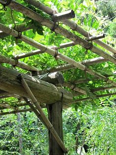 """A rustic arbor.....this one was 3 posts x 5 posts, quite large, with triple layer open """"mat"""" of bamboo laid on top. Crossovers wrapped with twine."""
