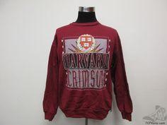 Vtg 90s Logo 7 Harvard Crimson Crewneck Sweatshirt sz L Large University IVY  #Logo7 #HarvardCrimson