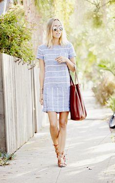 Lou & Grey Striped Chambray Dress