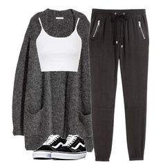 #367 h&m crop top h&m joggers h&m cardigan vans shoes polyvore >> glamoutfit app or stuffnstyle.com