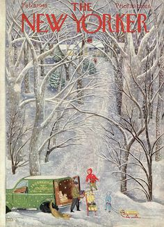The New Yorker - Saturday, February 1949 - Issue # 1251 - Vol. 24 - N° 50 - Cover by : Ilonka Karasz The New Yorker, New Yorker Covers, Vintage Illustration Art, Christmas Illustration, Christmas Pictures, Christmas Art, Capas New Yorker, Magazine Art, Magazine Covers