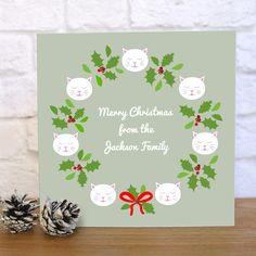 Personalised Frida Wreath Christmas Card