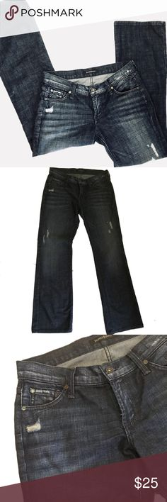 James Jeans Jimmy Distressed Petite Size 28 EUC The distressed Jimmy jean from James Jeans in excellent used condition. Darker finished and slightly distressed Straight boot cut Petite size 28 Measurements shown in last photo and are approximate James Jeans Jeans