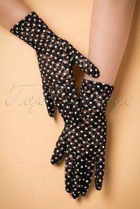 Unique Vintage Black and White Lace Dot Gloves 250 14 20558 11162016 004W