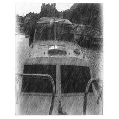 A photo drawing of a boat. You can see more boat in the background on the sea. #boat #boats #sea #ocean #boat-on-sea #photo-drawing drawing-of-boat