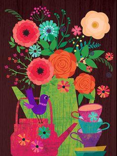 flowers in a potlimited edition illustration por sevenstar, $21.00