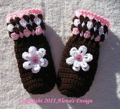 Crocheted Childrens Mittens with Flower in by AlenasCreations, $23.00