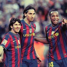 Barca legends , Messi - Ibra - Henry