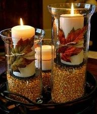 Love this for fall decor...wonder if I could do Epsom salts in the bottom, instead of corn, and evergreen sprigs and/or cranberries instead of leaves for my winter wedding...hmm!