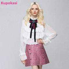 >> Click to Buy << Summer New Chiffon Full Ruffles Solid Color Bow Beck Bow Tie Rhinestones Sequins Fashion Woman Shirt Casual kimono #Affiliate