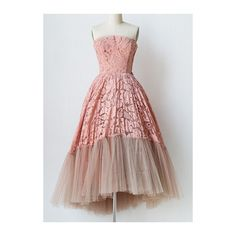 Rotita Vintage Dusty Pink 1950s Party Dress Strapless Lace Prom Dress ($24) ❤ liked on Polyvore featuring dresses, pink, vintage lace dress, lace dress, vintage cocktail dress, lace cocktail dress and pink cocktail dress