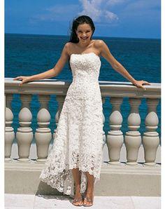 Elegant A-Line/Princess Strapless Asymmetrical Satin Lace Wedding Dress with Lace