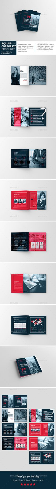 Squar Corporate Brochure Template InDesign INDD - 16 Pages