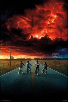 Stranger Things 2 Key Art Maxi Poster - Mike, Will, Lucas and Dustin stare up at the blood red sky with the shadow of a much bigger demogorgan. What will Stranger Things 2 have in store for the fans?