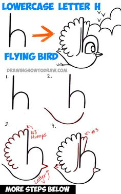 How to Draw a Flying Cartoon Bird from a Lowercase Letter h Shape - Easy Step by Step Drawing Tutorial for Kids