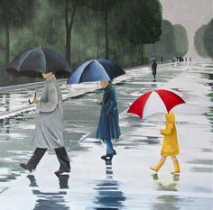 'Walking In The Rain' 36x36 - Tina Palmer Studios, Inc.