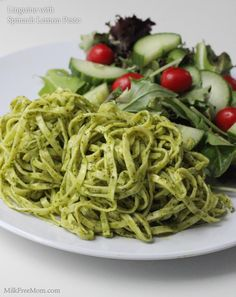 Dairy free Linguine with Spinach Lemon Pesto - Make with spelt pasta for alkaline friendly (and try with basil instead of spinach as an alternative) Dairy Free Recipes, Vegetarian Recipes, Healthy Recipes, Gluten Free, Spelt Pasta, Pasta Recipes, Cooking Recipes, Alkaline Diet Recipes, Clean Eating