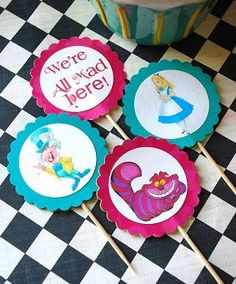 Alice in Wonderland - Mad Hatter Tea Party - Character Cupcake Toppers - 10. $6.00, via Etsy.