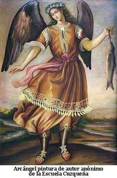Arcangel Miguel. Pintura anonima de la Escuela Cuzqueña
