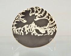 Bird of Prey Sgraffito Medium Hanging Plate by Oxide Pottery in Lynchburg, Virginia