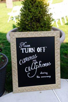 unplugged wedding sign - no cameras