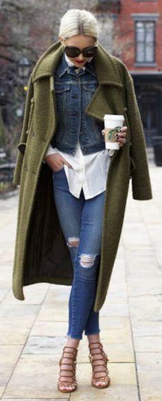 Alternative way + skinny jeans + Blair Eadie + double denim + smart and authentic + olive green overcoat + strappy sandals Denim: J Brand, Shoes: Schutz, Top: Equipment, Jacket: Old, Denim Jacket: Levi.