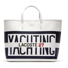 Lacoste FASHION SHOW TOTE ($205) ❤ liked on Polyvore featuring bags, handbags, tote bags, bags bags, leather goods, white tote, leather purses, handbags totes, leather handbags and leather tote bags